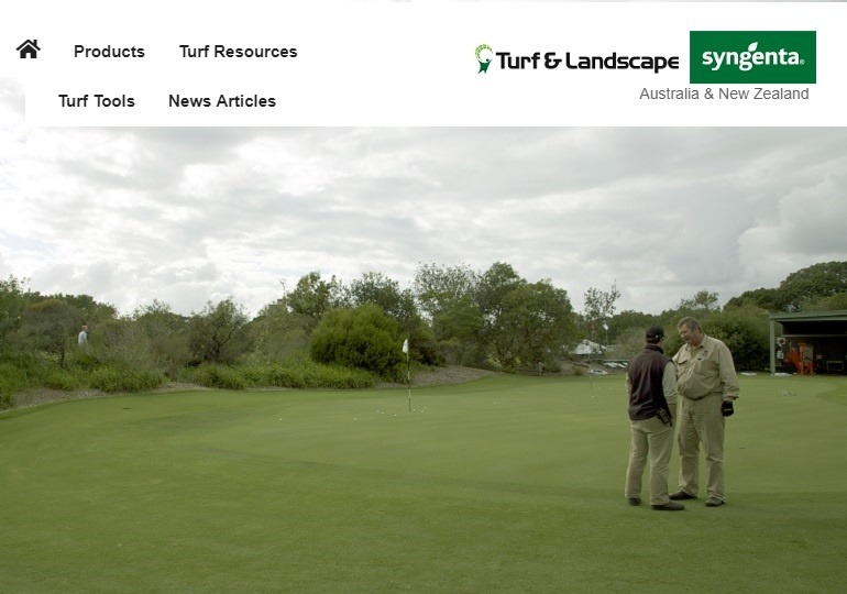 Two guys talking on golf green - website branding