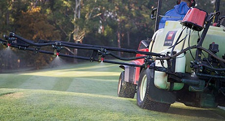 Spraying turf